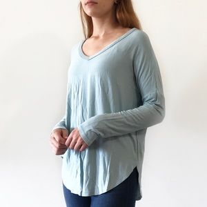 Tops - B2G1 FREE Light blue v neck long sleeve loose fit